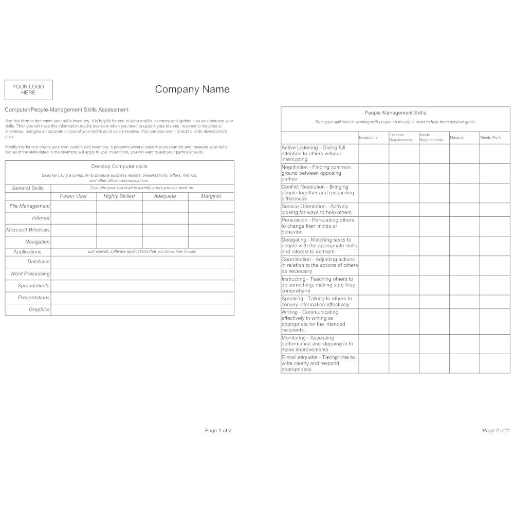 skills assessment template
