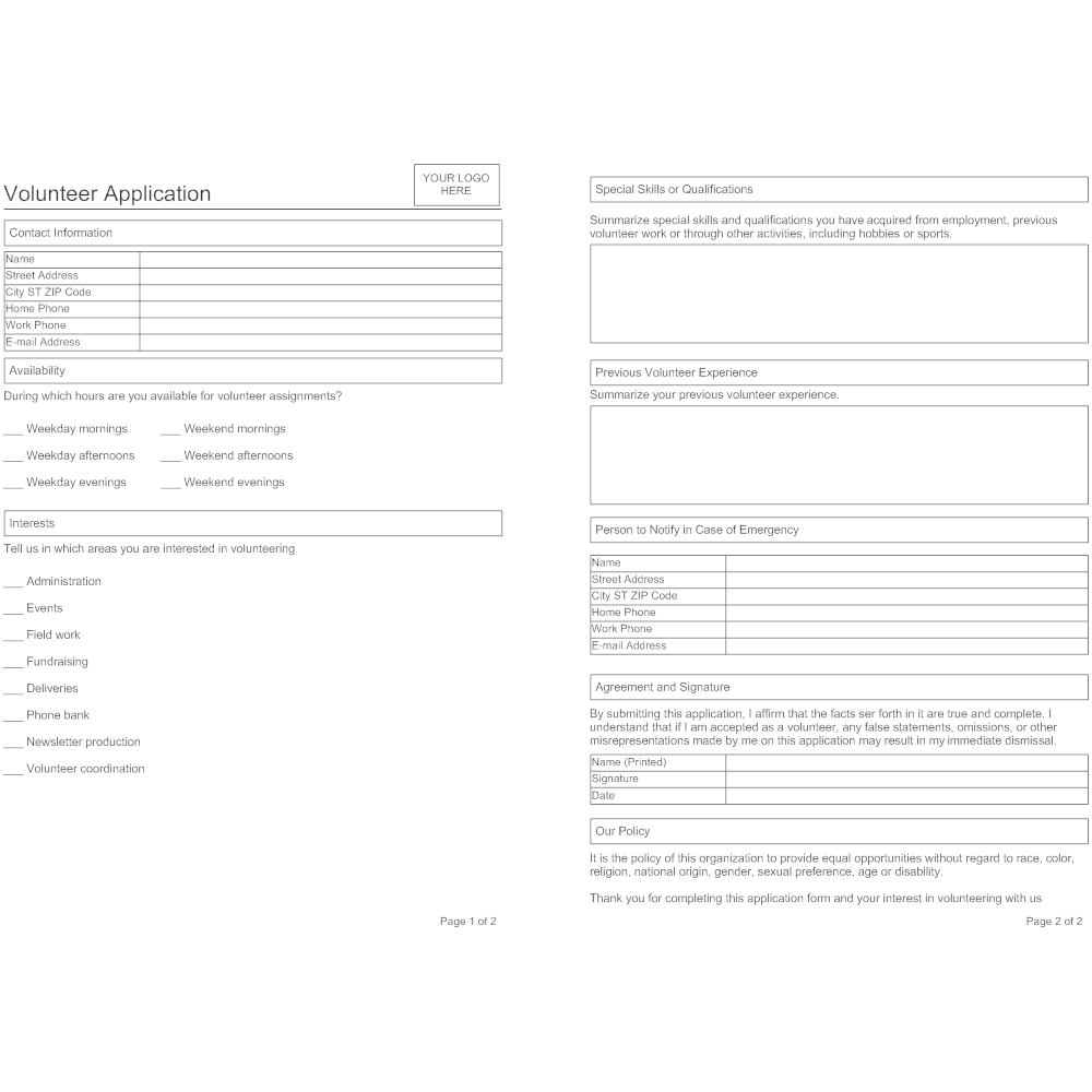 Example Image: Volunteer Application Form