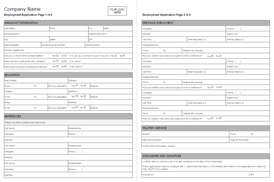 Employment Application Form Software Try it Free – Employment Application Forms