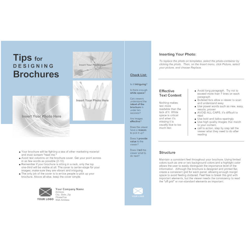 Single page brochure for One page brochure template