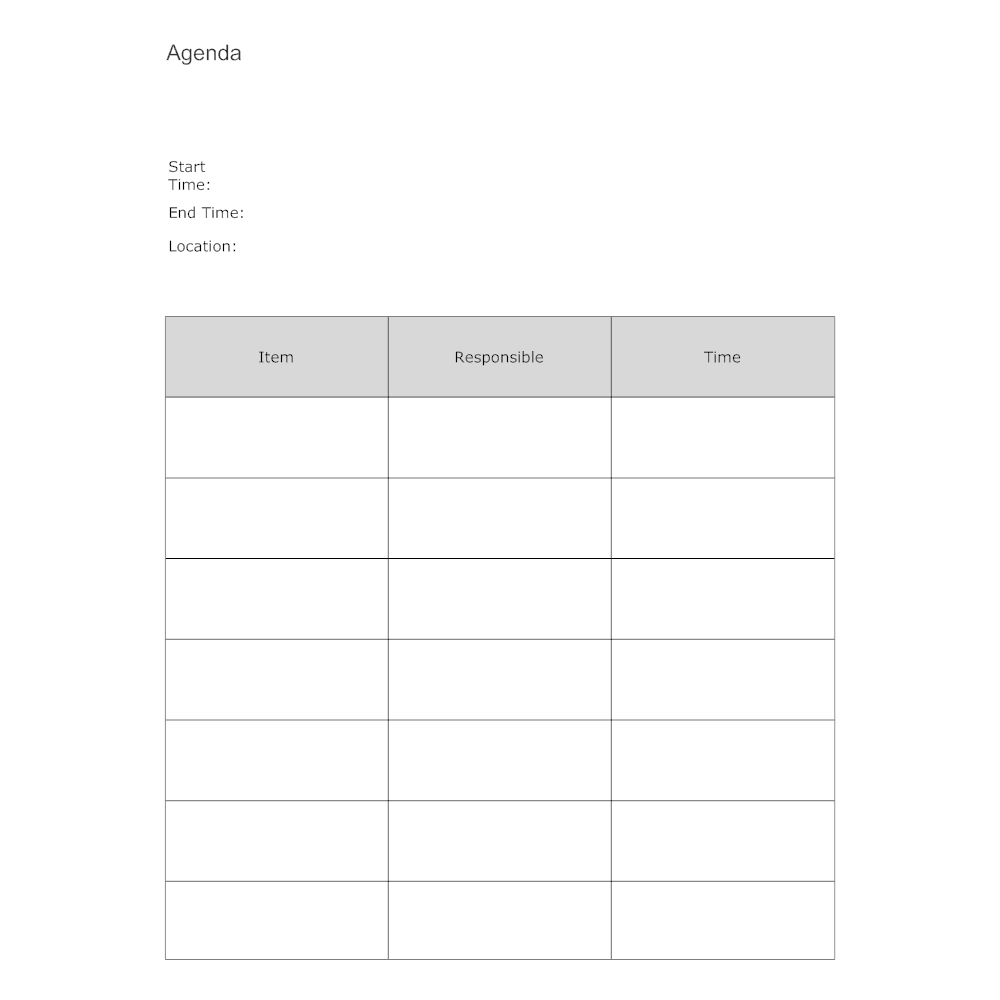 Meeting Agenda Form – Meeting Agenda Format