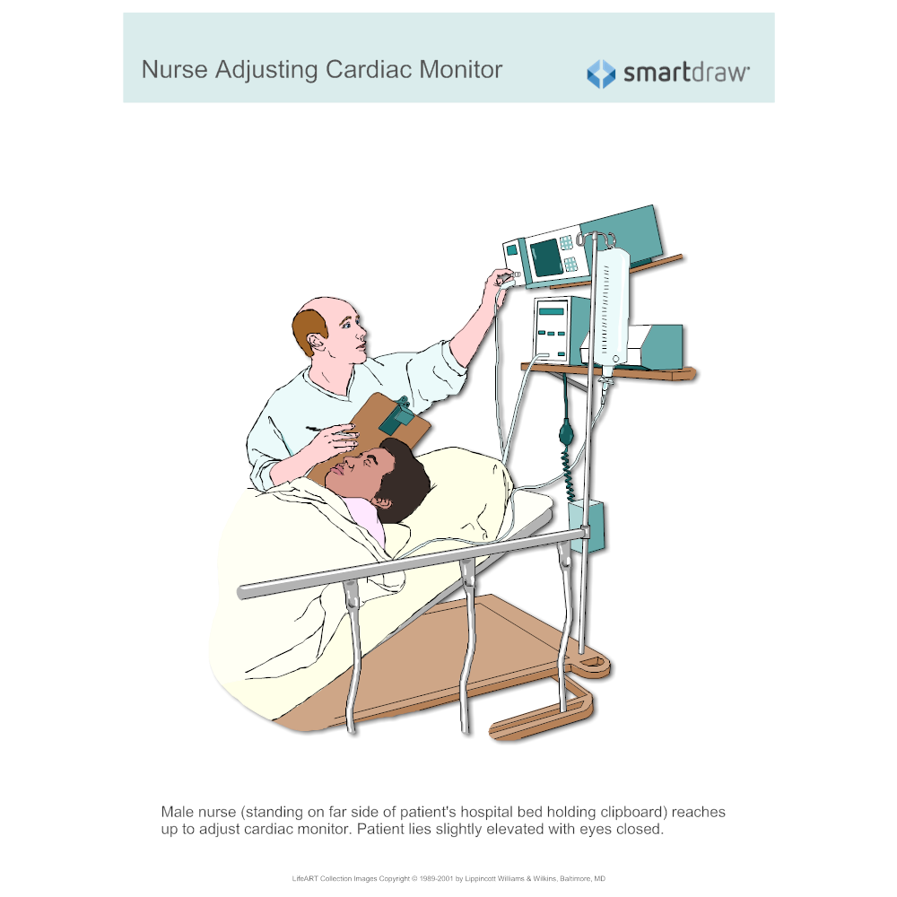 Example Image: Nurse Adjusting Cardiac Monitor