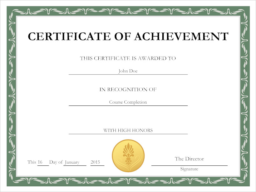 Wonderful Certificate