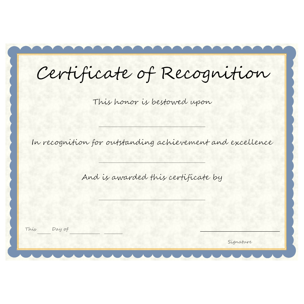 recognition certificates wording