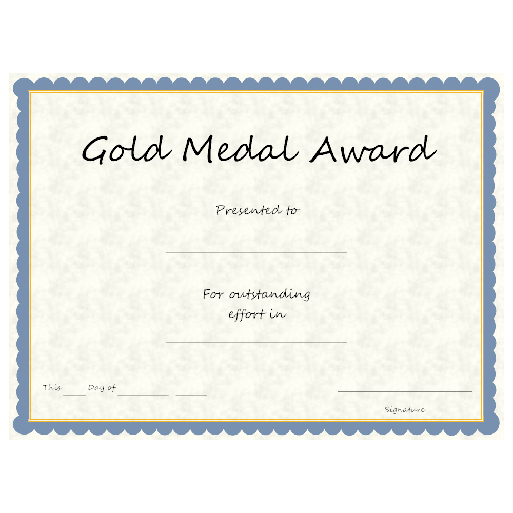 Example Image: Gold Medal Award