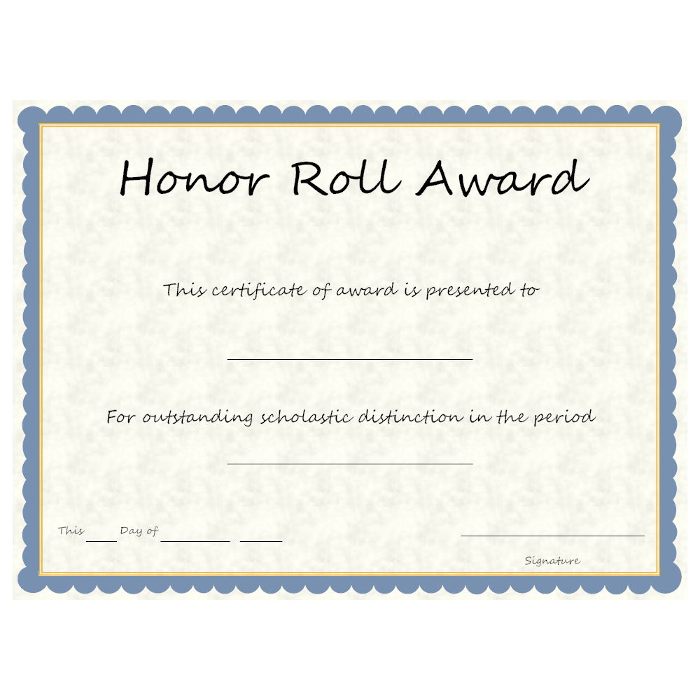 Example Image: Honor Roll Award