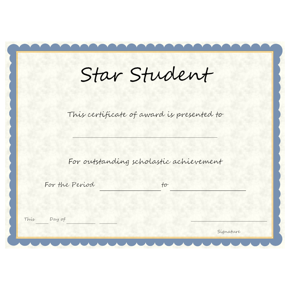 Star Student Award – Star Student Certificate Template