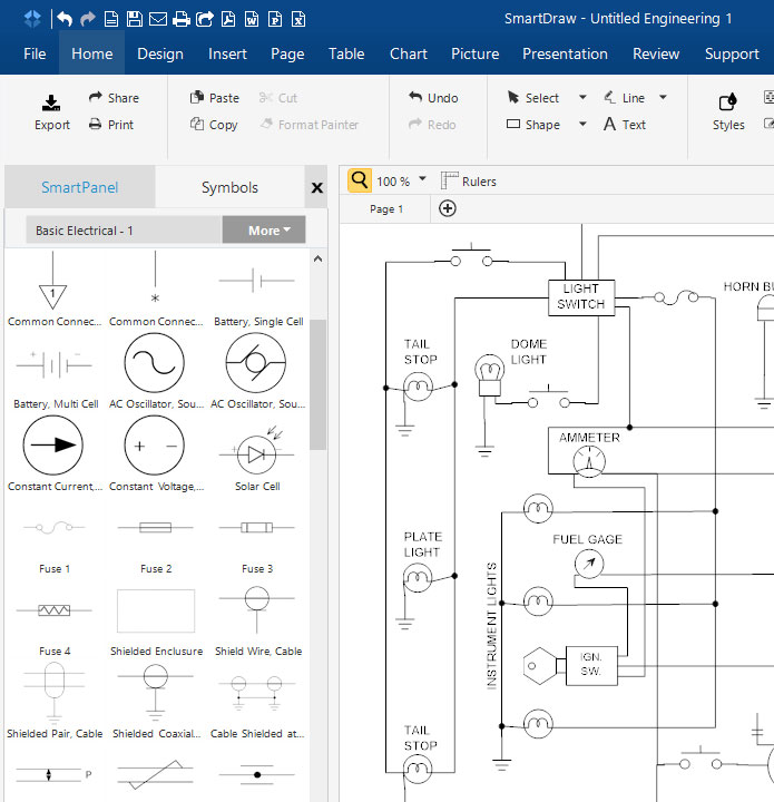 circuit diagram learn everything about circuit diagrams rh smartdraw com Electrical Outlet Wiring Diagram standard automotive wiring diagram symbols