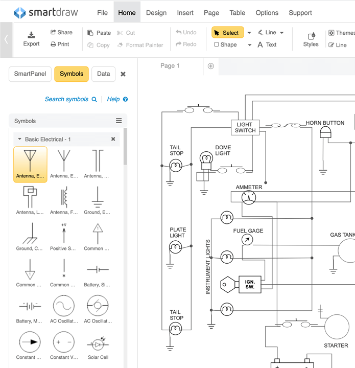 schematic diagram software free download or online app rh smartdraw com Boat Wiring Diagram Electrical Ladder Diagrams