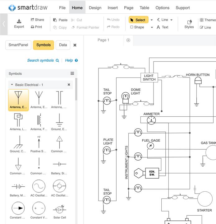 schematic diagram software free download or online app rh smartdraw com Best Wiring Diagram Software Electrical Ladder Diagrams