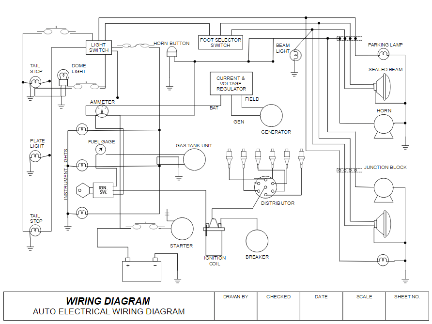 how to draw electrical diagrams and wiring diagrams rh smartdraw com automotive wiring and circuit diagrams Schematic Diagram