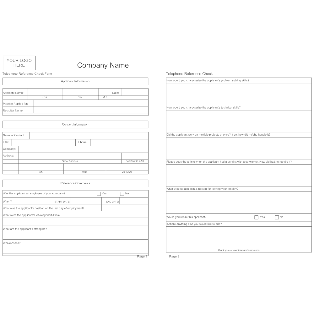 Job Application Reference Template
