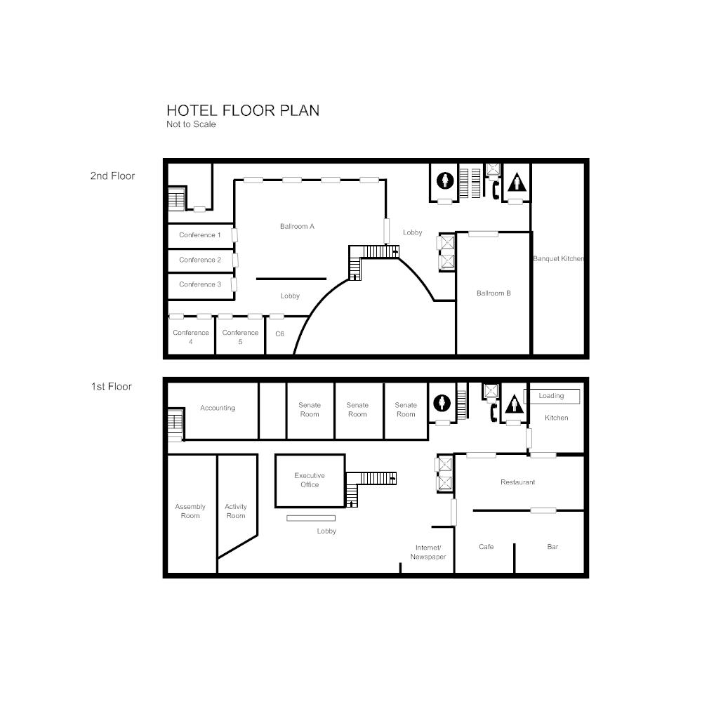Floor plan templates draw floor plans easily with templates hotel floor plan malvernweather Images