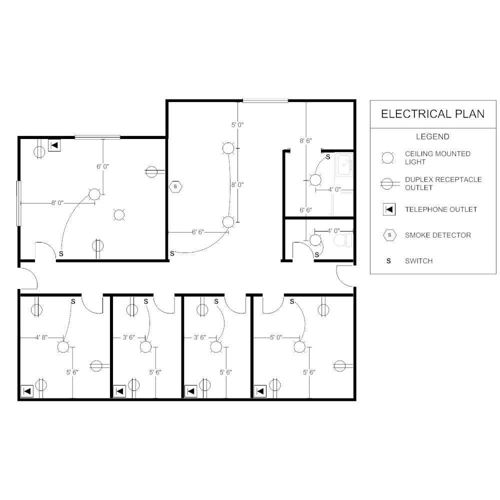 Office electrical plan for Draw office floor plan
