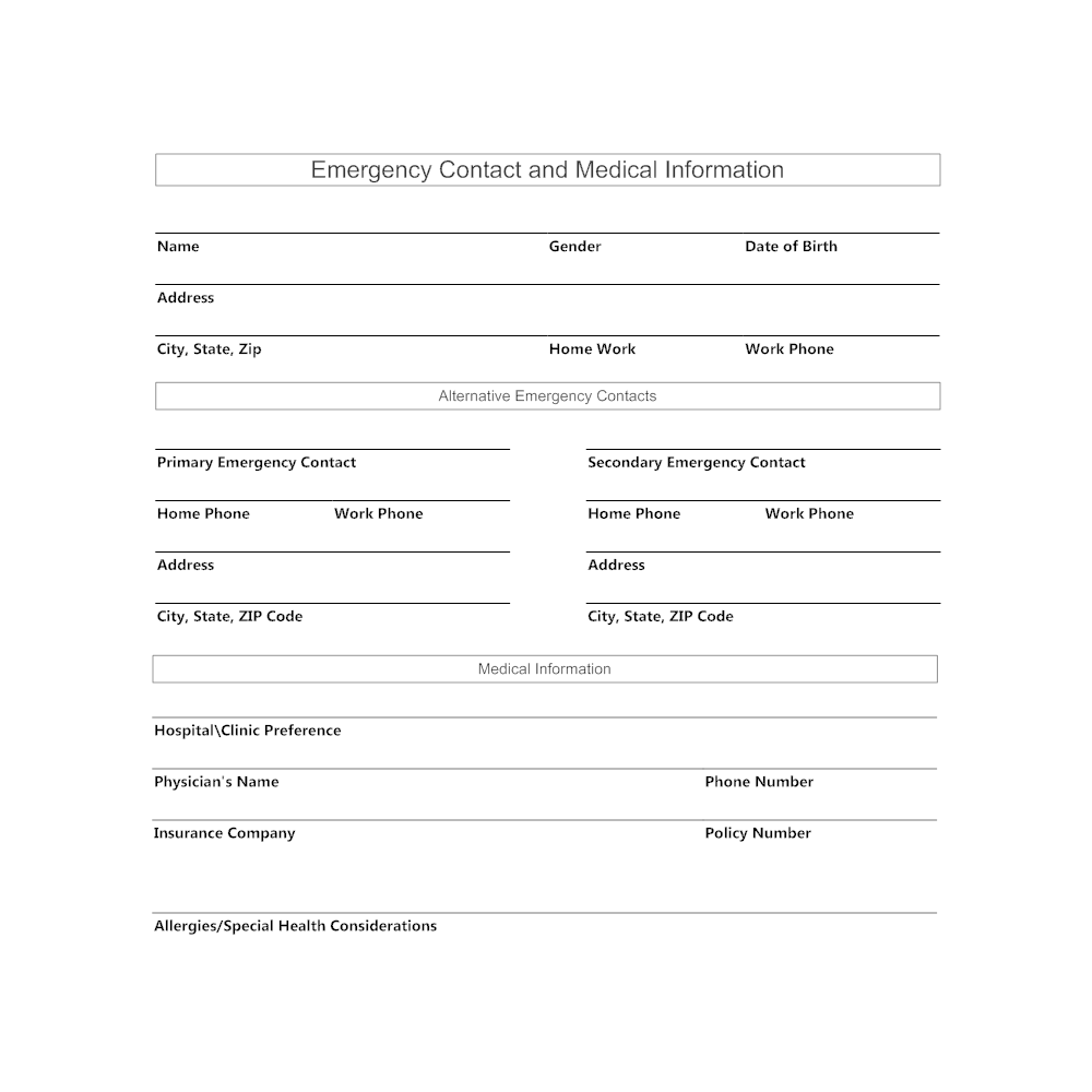 medical emergency form template
