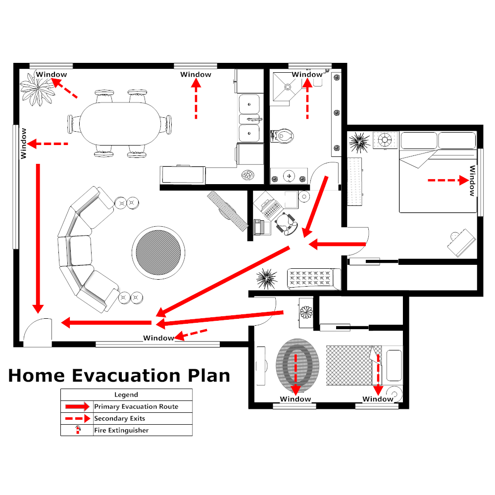 Text In This Example Home Evacuation Plan