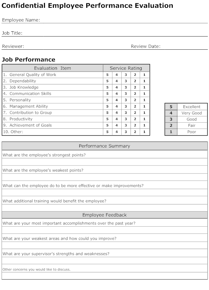 Staff Performance Evaluation Form Selol Ink