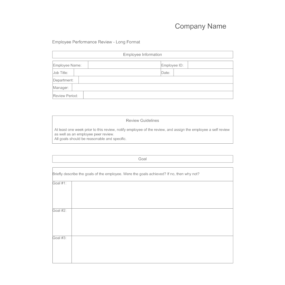 Performance Review Form Template Template