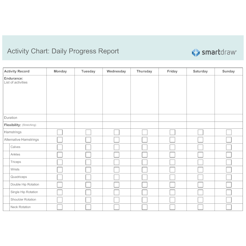 activity chart daily progress report