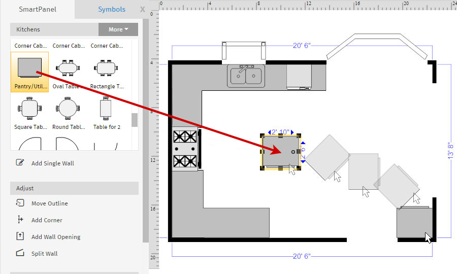 How to draw a floor plan with smartdraw floor plan kitchen cabinets malvernweather Images