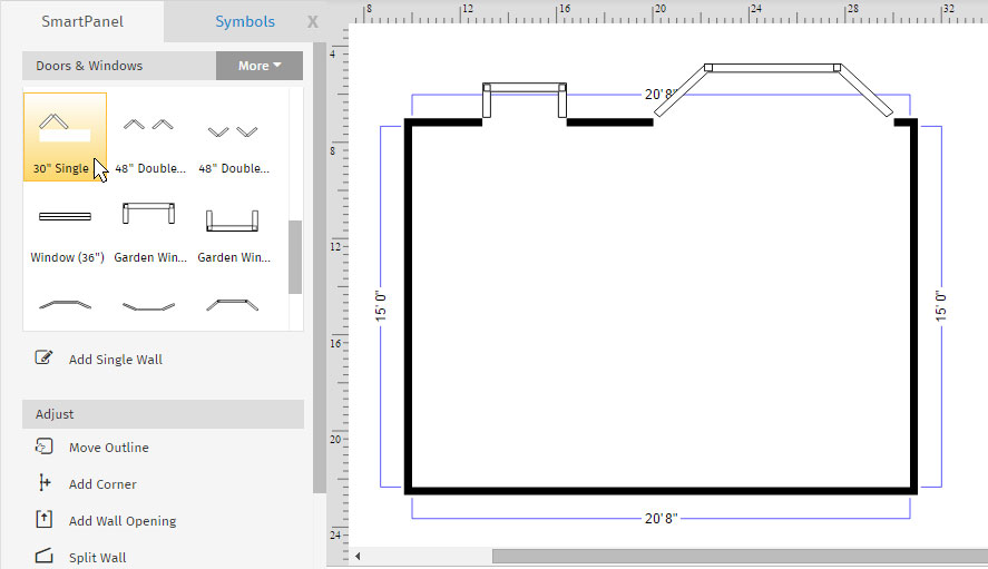 How to draw a floor plan with smartdraw for Draw house plans on computer