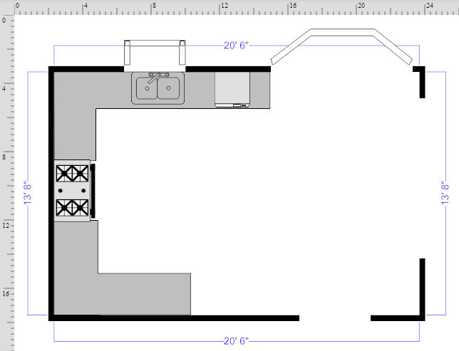 How to draw a floor plan with smartdraw kitchen floor plan finished malvernweather Images