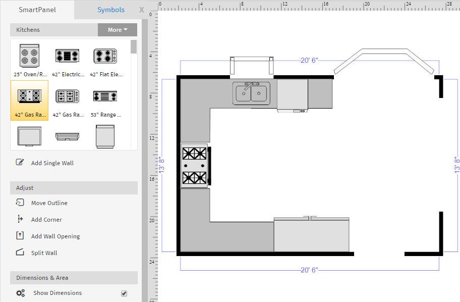 Advanced floor plan tutorial creating layers kitchen floor plan templates malvernweather Gallery