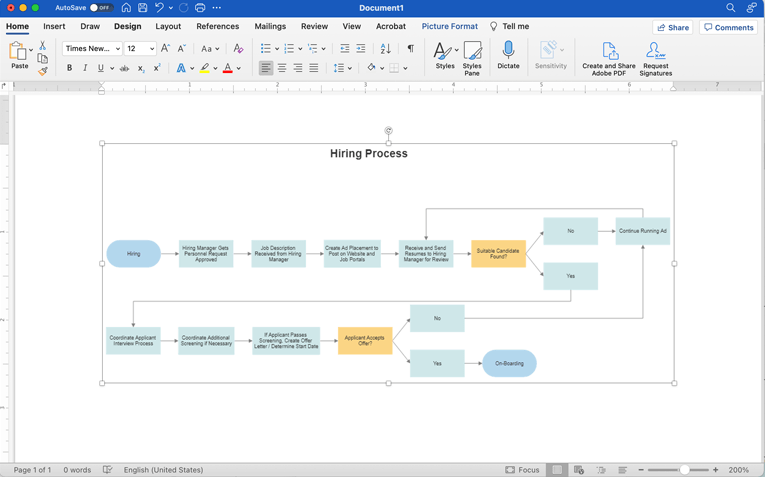 how to do a flowchart in word