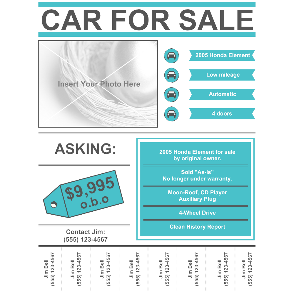 Car For Sale Flyer Template profit and loss report example ...