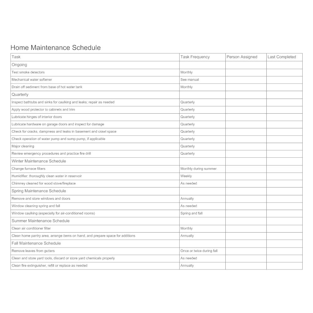 home maintenance schedule