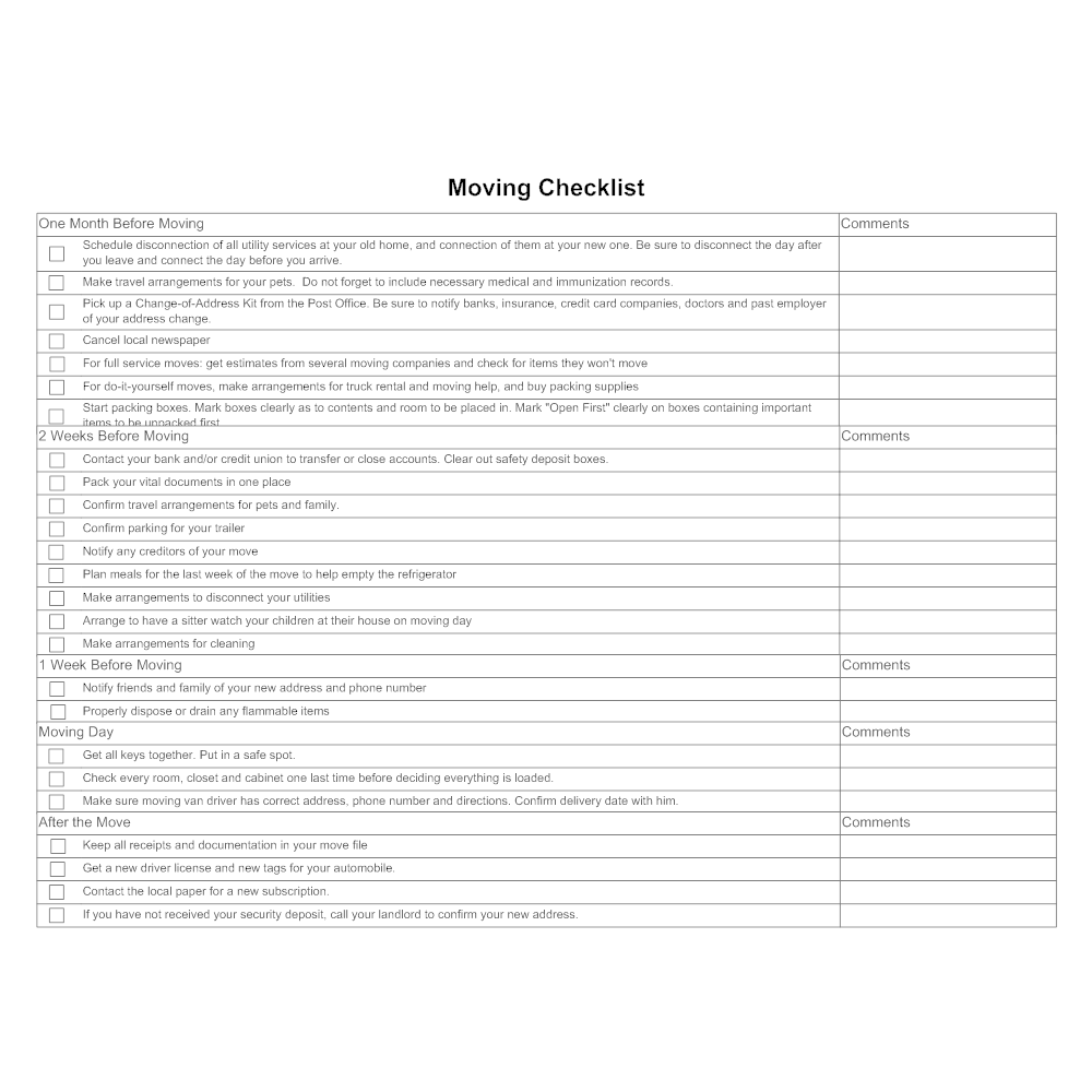 after moving checklist