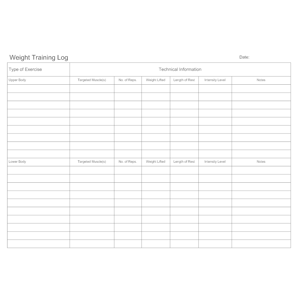 Example Image: Weight Training Log