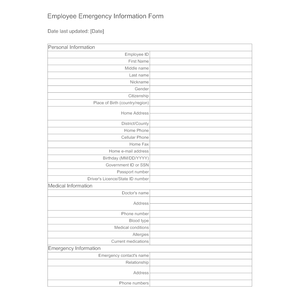 Employee Emergency Information Form on emergency room patient form, legal form, sample hipaa authorization form, yoga form, title release authorization form, release form, registration form, marketing form, medical references, medical welcome, medical directions, medical conventions, consent form, medical release back to work, recommendation form, parental consent form, medical confidentiality, medical work restriction forms, medical documentation forms, reference form, medical release form, application form, name form, security form, date of birth form, physical therapy form, liability release form, health care form, health claim form,