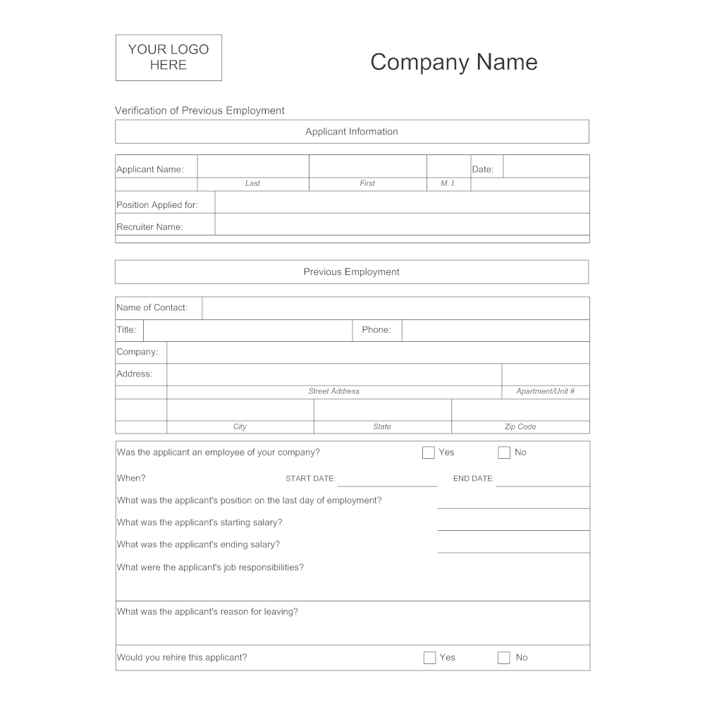 Verification Of Employment Form Template Resume Samples
