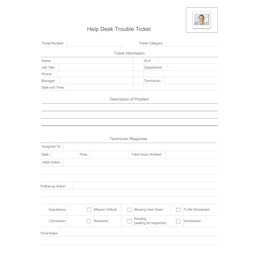 Help Desk Trouble Ticket - It ticket template