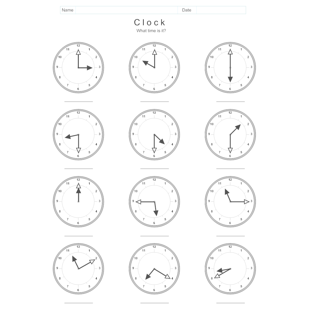Example Image: Clock and Time Worksheet