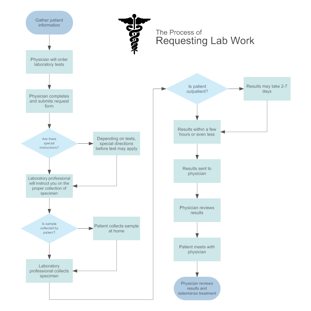 Requesting lab work medical process flowchart for Online house map maker