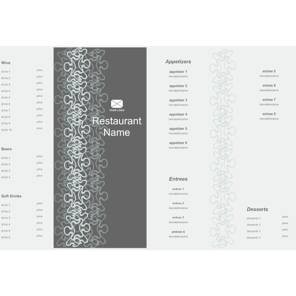 Bifold Menu Template - 3 fold menu template