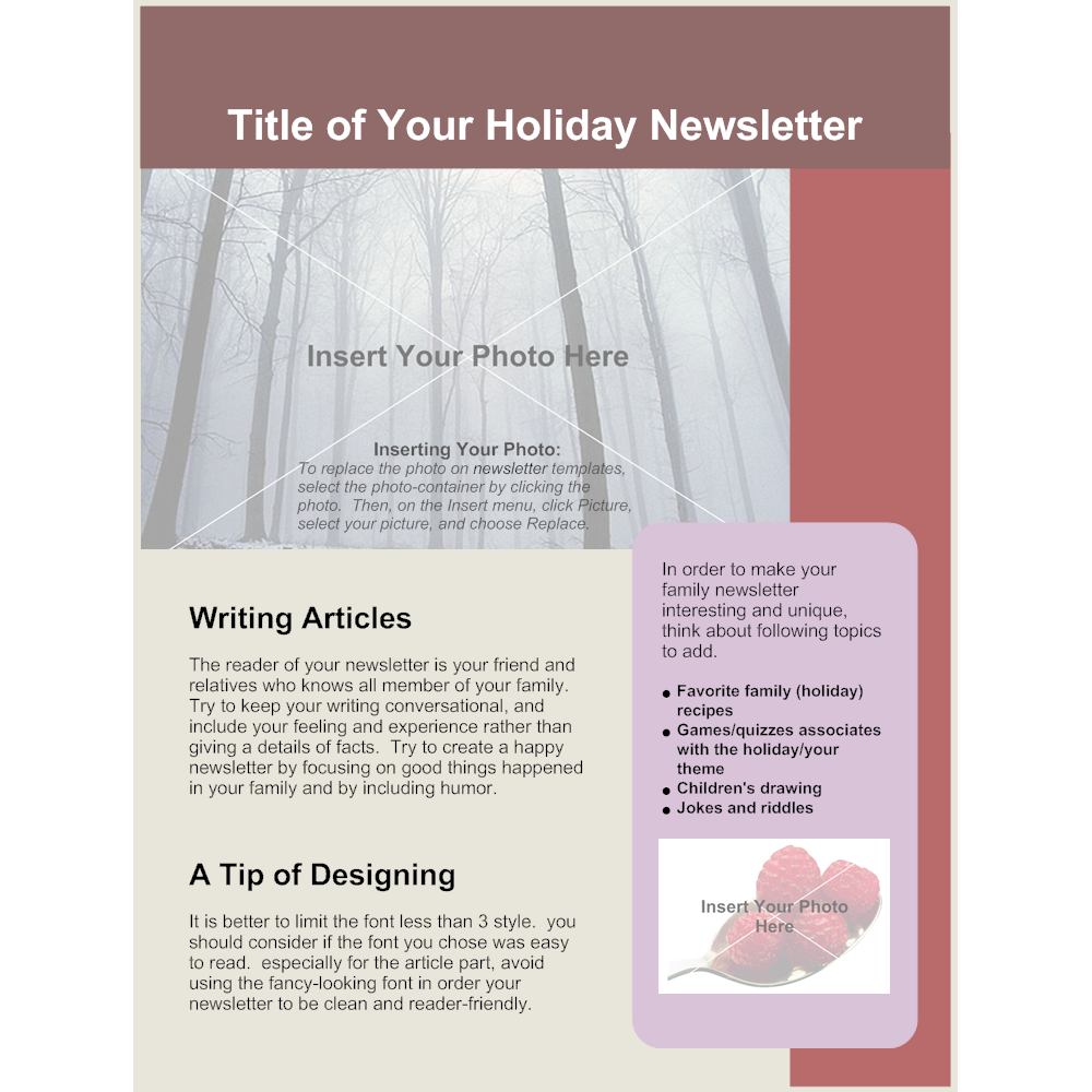 Example Image: Family Holiday Newsletter