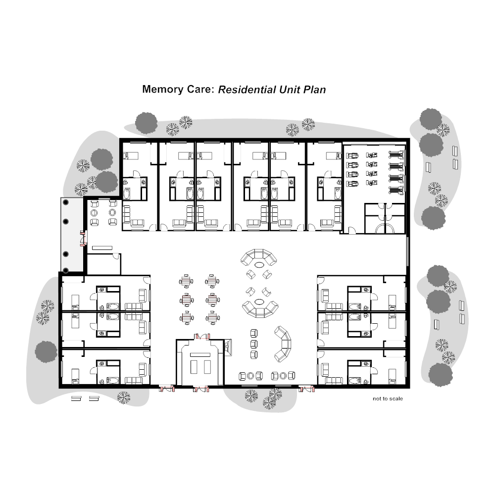 Residential nursing home unit plan for Retirement home floor plans
