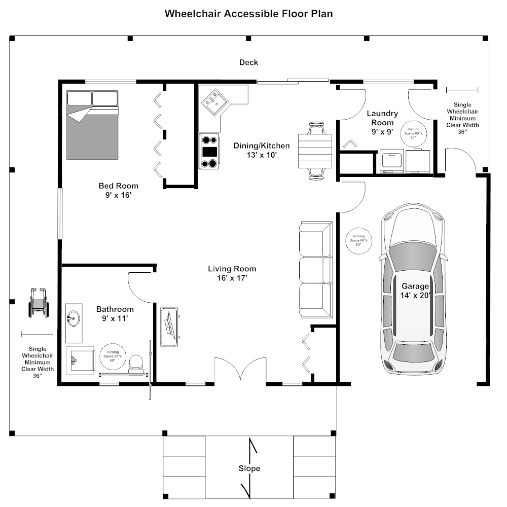 Click to edit this example · example image wheelchair accessible floor plan