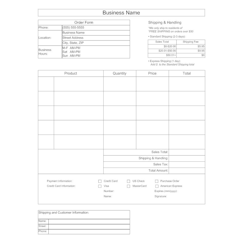 Example Image: Purchase Order Form Template