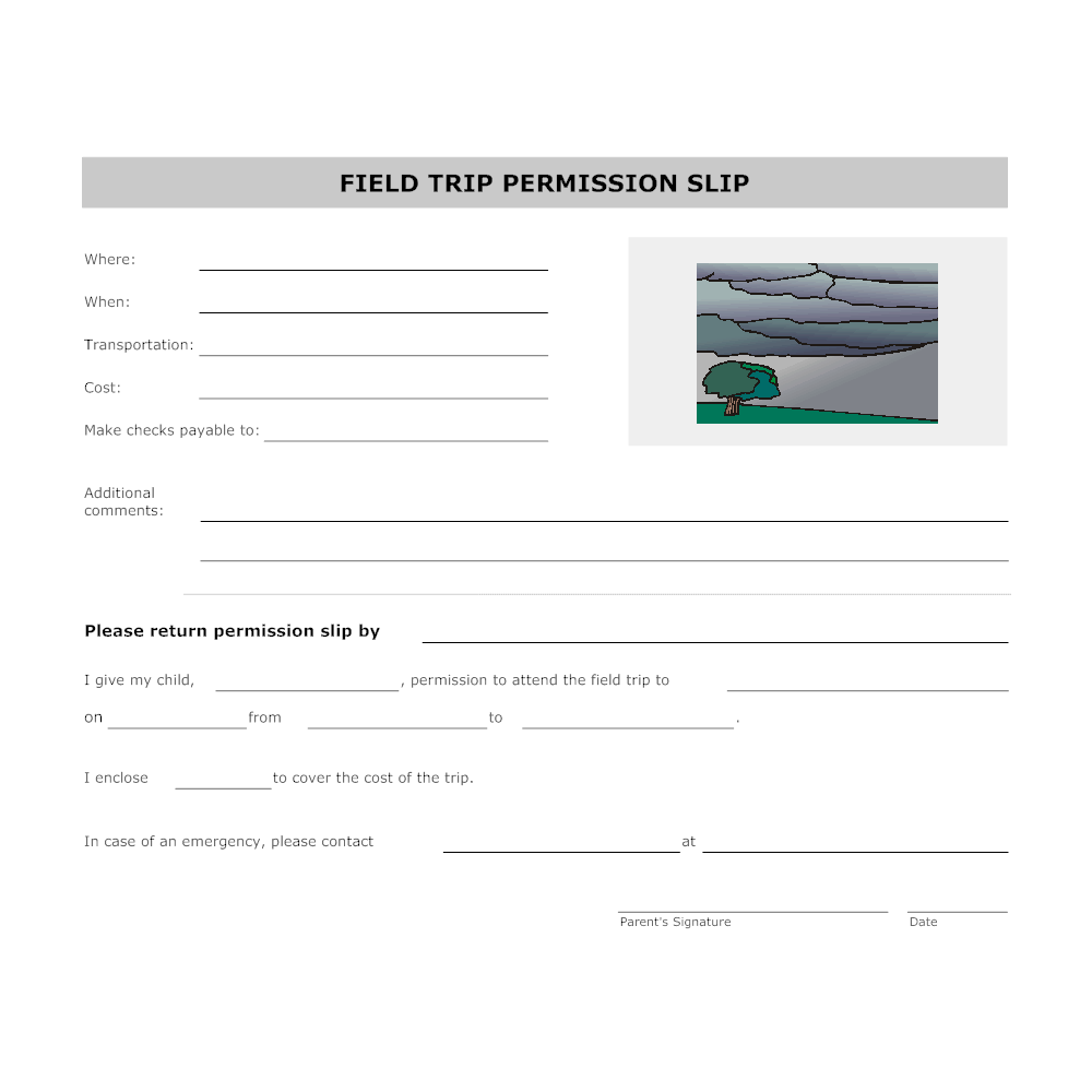 examples of permission slips for field trips