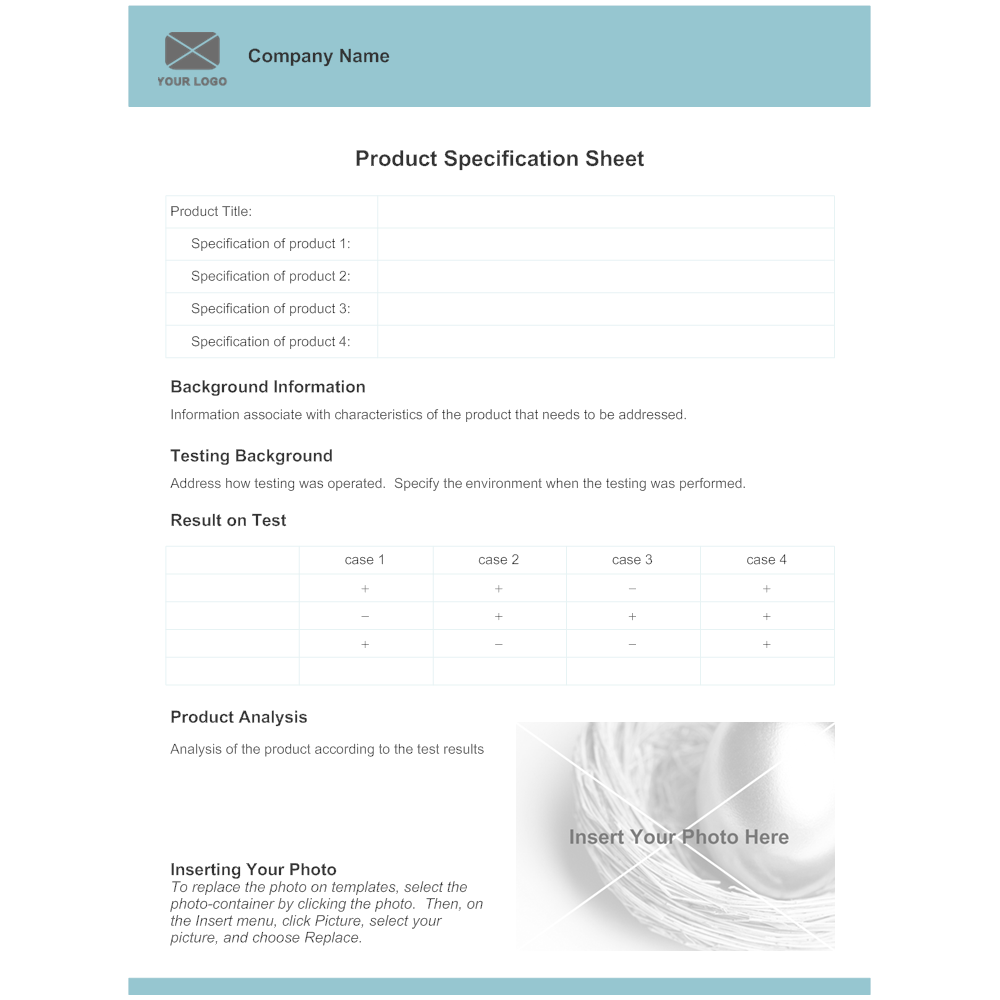 Product Specification Sheet Template – Sheet Template