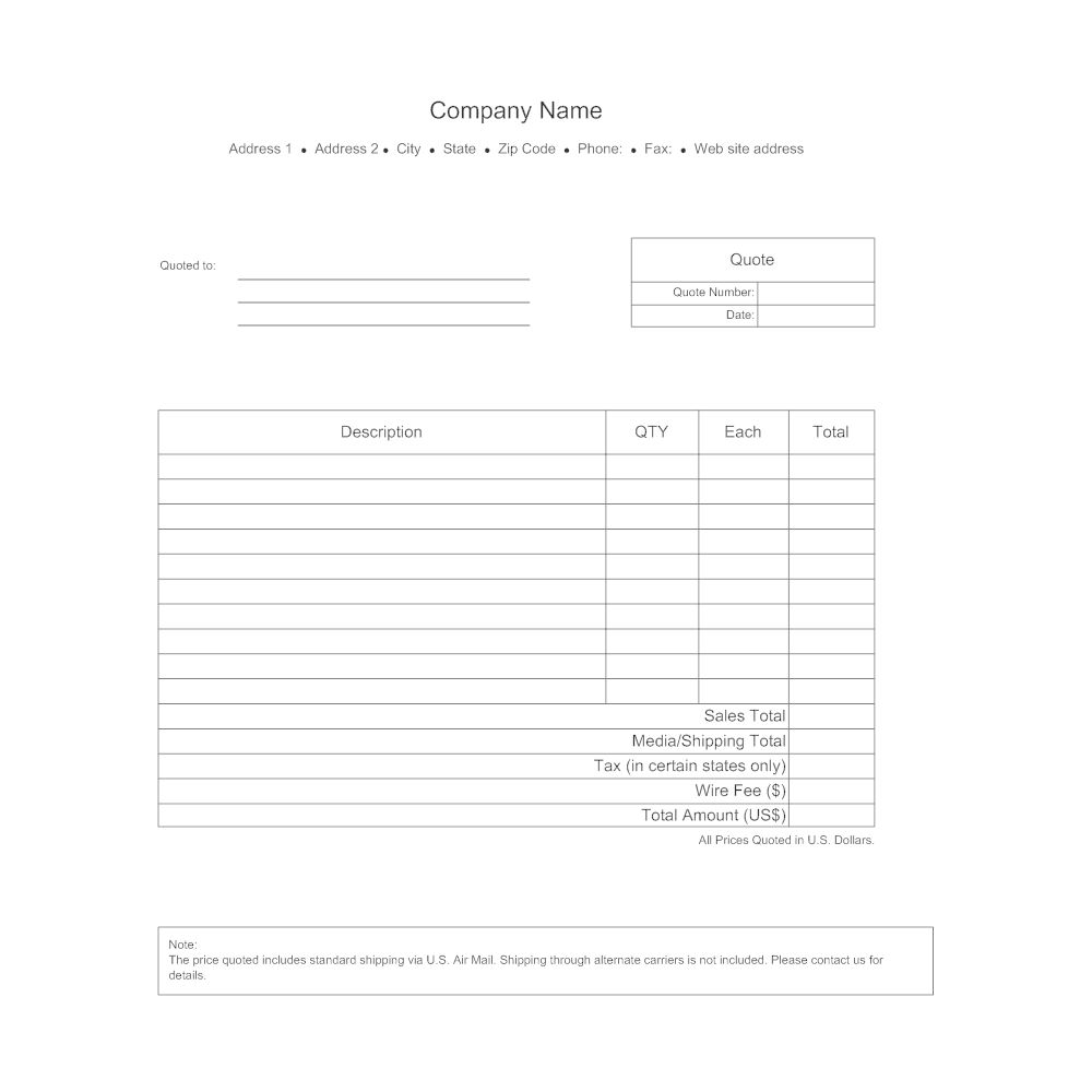 Business Quote Form - Us zip code address