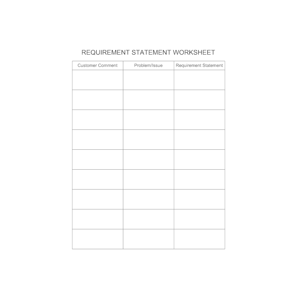 Example Image: Requirement Statement Worksheet Template