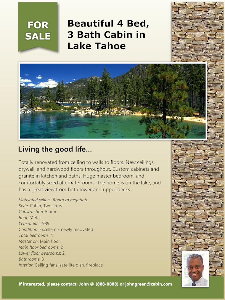 Real estate flyer - Lake Cabin