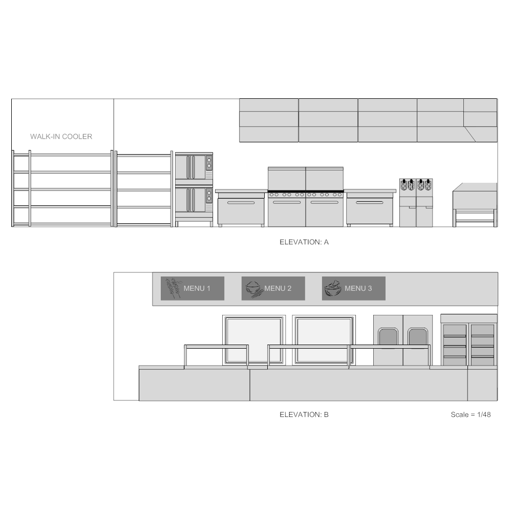 Plan Section Elevation Examples : Restaurant kitchen elevation plan