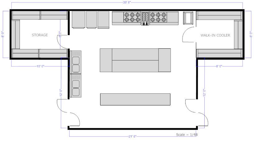 Commercial Kitchen Floor Plan 28+ [ commercial kitchen floor plans ] | restaurant bar layout