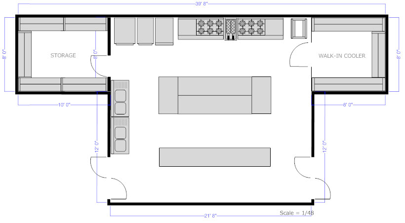 Restaurant floor plan how to create a restaurant floor plan see restaurant kitchen floor plan malvernweather Image collections